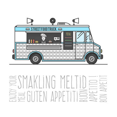 sell car: Hot street food mobile truck, sell burgers out of the car, the concept of Bon appetit. Vector illustration for your design
