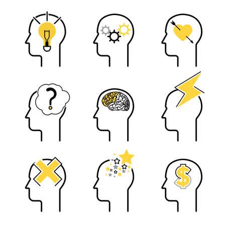 인간의 마음 프로세스 아이콘 세트, 사람들이 두뇌 생각. 디자인을위한 벡터 일러스트 레이 션