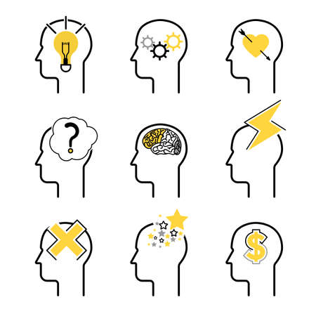 mind set: Human mind process icon set, people brain thinking. Vector illustration for your design Illustration