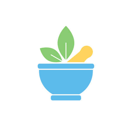 herbalist: Pharmaceutical mortar and leaf, alternative medicine sign. Vector flat color