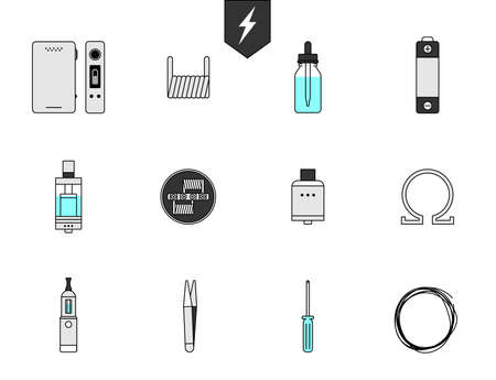 vaporizer: Set icon for Vapor bar and vape shop, electronic cigarette, no smoke. Line modern Flat design icon vector illustration set for your web design