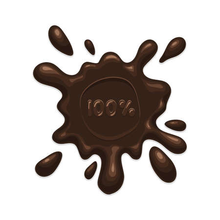 chocolate splash: Chocolate splash blot label on white background. Vector illustration isolated for web design and print