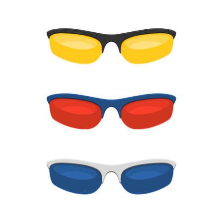 eyewear: Colorful sport sunglasses sign set Isolated on White Background. Vector illustration sign Illustration