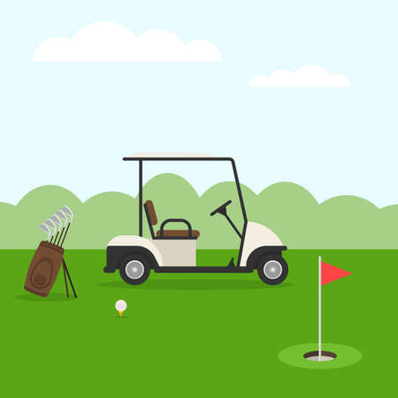 rolling landscape: Golf course. Golf landscape in flat style. Vector illustration
