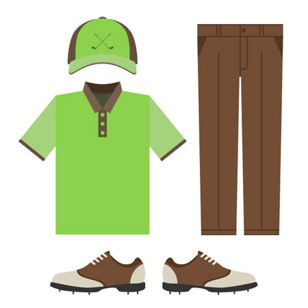 sports uniform: Golf colorful clothes set. Polo t-shirt, cap, pants and shoes. Sports uniform. Vector illustration isolated on white background for your web site design Illustration