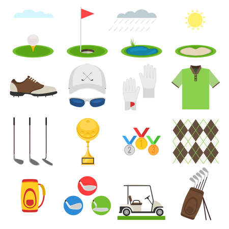sports uniform: Golf icon set.  Sports uniform, equipments with elements for mobile concepts.  Vector illustration collection infographic  pictogram isolated on white background for your web site design and app Illustration