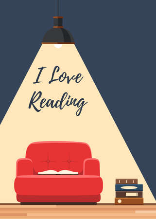 cartoon reading: Love reading book concept. Red chair with an open book under the lamp ligh. Vector illustration flat style poster, web banner or flyer Illustration