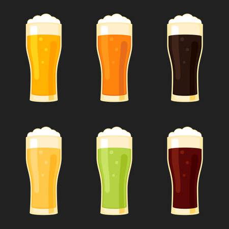 cerveza negra: Vasos de cerveza lager diferentes tipos -, pilsner, cerveza inglesa, cerveza de malta, verde, rojo. ilustración vectorial signo plana estilo para el diseño web y de impresión Vectores