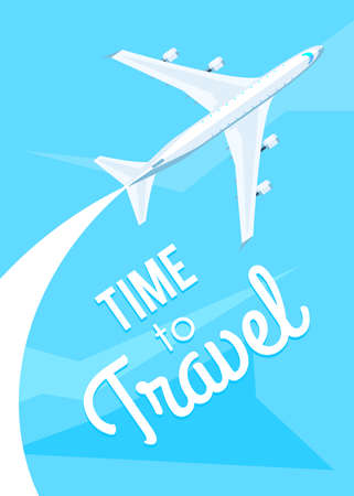 time fly: Time to travel. Airplane fly on the blue sky. Vector illustration modern flat design on the theme of travel, vacation, adventure for web banner, print poster or flyer Illustration