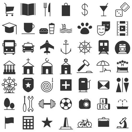 locations: City map icons set. Indicate locations. Vector illustration line of collection of characters isolated on white background
