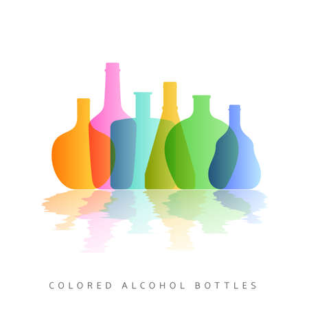 vermouth: Alcohol bottles silhouette colored. Colorful bottle on white background. Concept template for card. Vector illustration for you web design site or print cover menu
