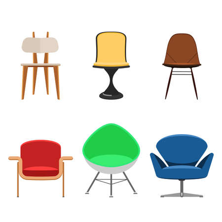 armchairs: Modern Collection of chairs and armchairs isolated on white background. Flat Icon Designer interior furniture. Vector illustration flat style sign set