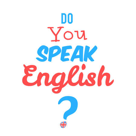 speak english: Concept of Learn English. Do you speak English in front of white background. Vector illustration for web banner design or print