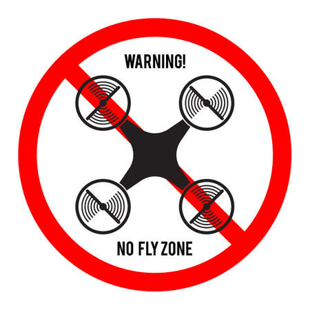 prohibited symbol: No drone fly zone icon. Warning and forbidden sign. Multicopter prohibited symbol. Vector illustration
