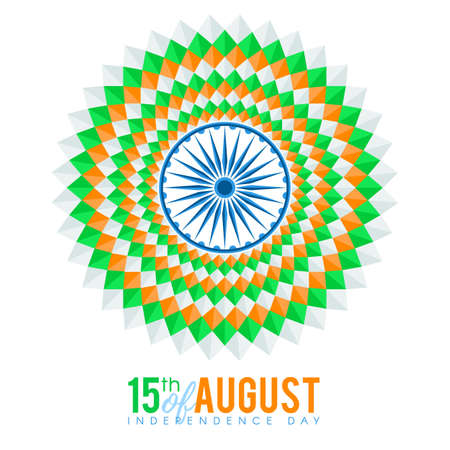 tricolors: Indian national flag tricolors theme background for Indian Republic day and Independence day with Ashoka Wheel. 15 th of august. Vector illustration template for greeting card or web banner design Illustration