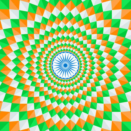 tricolors: Indian national flag tricolors theme background for Indian Republic day and Independence day with Ashoka wheel. 15 th of august. Vector illustration template for greeting card or web banner design