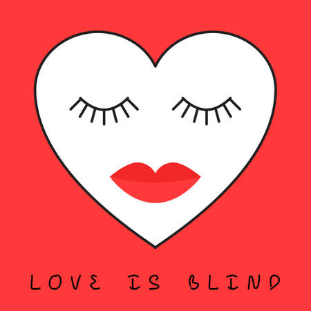 blindly: Love is blind concept. Heart with eyes closed and lips. Vector illustration of template for greeting card or design a web banner