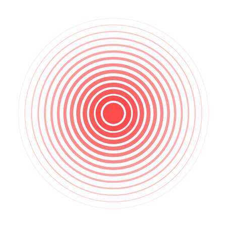 Red Rings sound wave and line in a circle. Tap symbol. Radio signal background. Vector template illustration abstract speed motion for your design