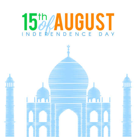 tricolors: Indian national flag tricolors theme background for Indian Republic day and Independence day with Taj Mahal. 15 th of august. Vector illustration template for greeting card or web banner design