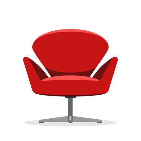 designer chair: Soft Red modern chair, isolated on white background. Designer furniture. Vector illustration flat style sign concept Illustration
