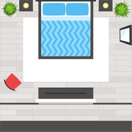 view from above: Top View Bedroom with bed, furniture, red chair, mirror, wooden floor, plant and dress room. Loft  modern design interior. Apartment plan. Vector illustration flat stye