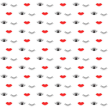 Simple seamless pattern with red lips and open and closed eyes. Vector illustration background for design of the web site or print wrapping paper