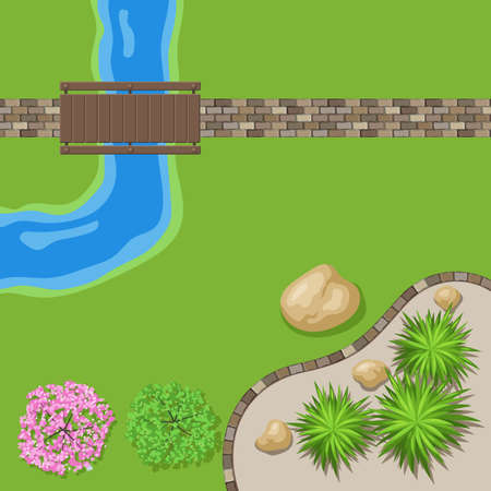 Top view landscape Garden with stone path and wooden bridge. Trees by the river. Vector illustration of landscape design of the Park, a place for walking and recreation