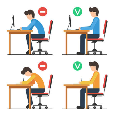 Corrette e non corrette indietro seduta posizione. Bene e male posizione di rotazione. Illustrazione vettoriale in stile piatto isolato per lo sfondo bianco