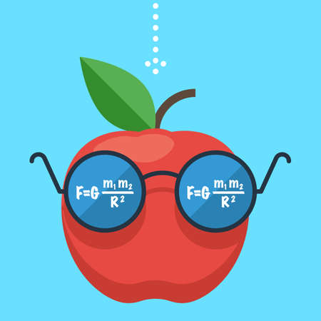 to gravity: Law of gravity. Apple flies down. The formula is reflected in the glasses, the science of physics. Gravity concept. Flat design vector illustration