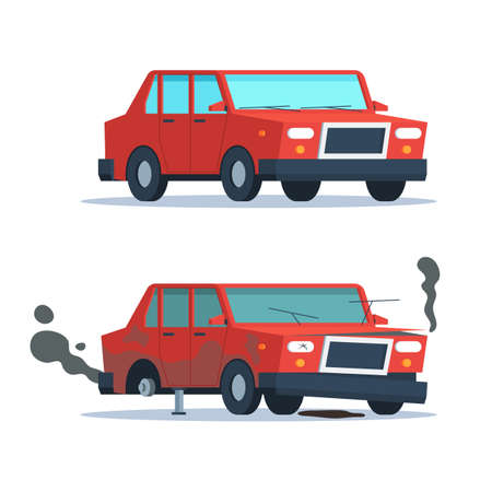 wrecked: Car sedan vehicle before and after car crash road accident. Wrecked and okay vehicle. Broken and new car. Vector trendy flat cartoon design isolated illustration