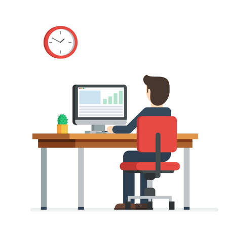 Business person working on computer. Businessman sitting on a red chair behind the office Desk with a cactus, wall clock. Cool vector flat illustration character design isolated on white background Stok Fotoğraf - 61652140