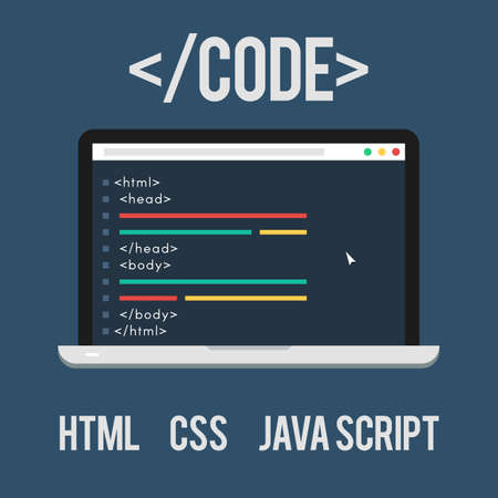 java script: Web Development, code, html, css, java script. Concept Laptop of flat icon. Vector illustration for web design banner on site or print