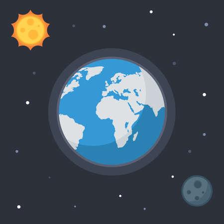 sonne mond und sterne: Erde mit Sonne, Mond, Sterne. Konzept Vector Raum Banner Symbole für Online-Web-Design oder Druck Illustration