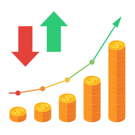 Piles of coins with going up the graph, red down arrow and green up arrow. Concept for financial growth. Vector illustration isometric design