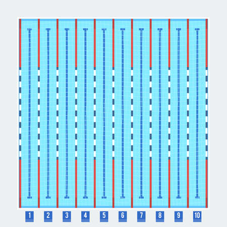 lanes: Olympic swimming pool deep bath lanes top view flat pictogram with clean transparent blue water vector illustration