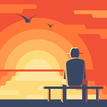 Elderly man in a hat on the bench. Seascape sunset. Landscape with red sky, the sun reflected in the ocean. Concept vector illustration Illusztráció