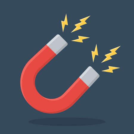magnetismo: Segno rosso magnete a ferro di cavallo. Magnetismo, magnetizzare, attrazione concetto. icona del design piatto. Illustrazione vettoriale su sfondo scuro con ombra