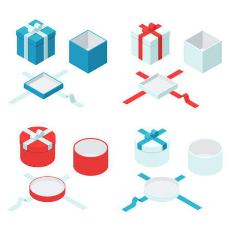 closed box: Colorful present and gift boxes with ribbon bows. Open and closed box sign set. Vector flat isometric illustration isolated on white background Illustration