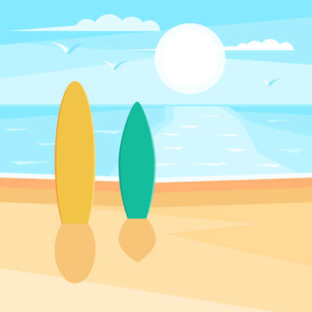 sandy: Sandy beach with surf. Sea landscape. Seagulls in the sky at sun. Vector illustration design for web banner, print promotional materials or greeting cards Illustration