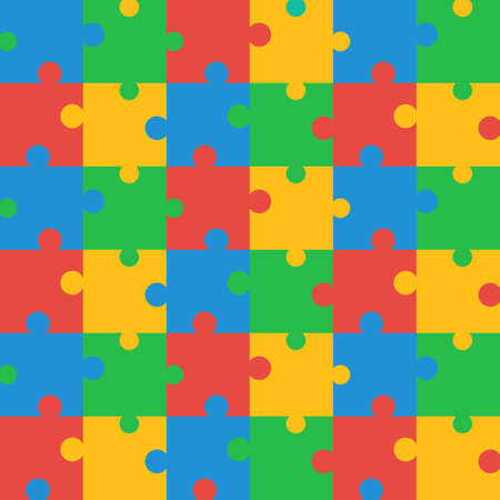 brightly: Seamless Brightly Colored Puzzle Pattern. Vector illustration for background design