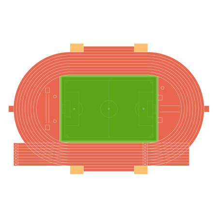 Draufsicht auf Laufbahn und Fußballplatz, Platz für Wurfscheibe und Hammer, springen lange isoliert auf weißem Hintergrund. Sommer-Sport-Stadion. Vektor-Illustration