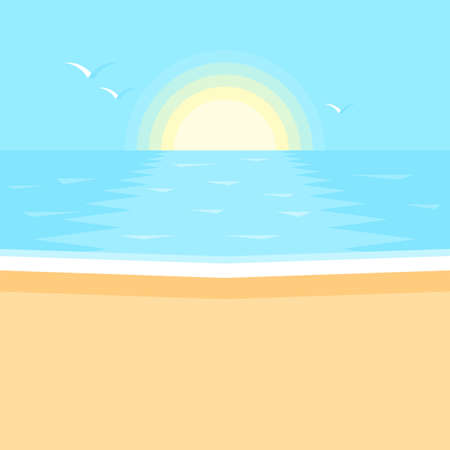 beach landscape: Sunset in the ocean. Sea, clean sandy beach landscape. Vector illustration in flat design style