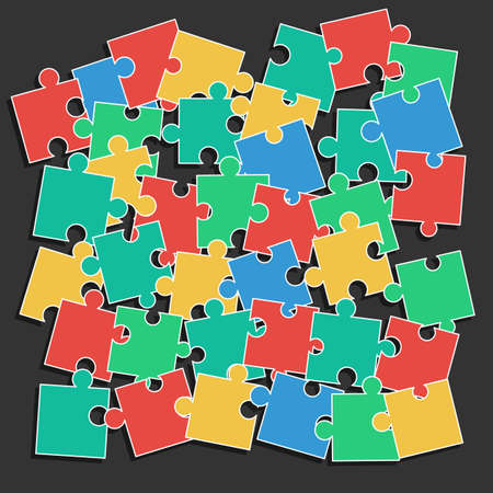 missing link: Colored pieces of the puzzle random scattered in disarray. Vector illustration for background design