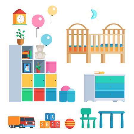 아기 방은 가구 및 장난감, 풍선, 시계 및 램프로 설정합니다. 간행물 및 홍보 자료에 대한 흰색 배경에 고립 유행 디자인의 벡터 일러스트