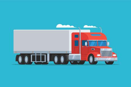 semi truck: Big semi truck. Concept logistic auto transportation. Heavy american red tractor pulls the trailer. Vector flat trendy illustration
