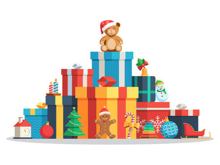 Big pile of colorful wrapped gift boxes and toys, Christmas balls, candy, candles, Gingerbread man, Christmas tree, bear in a Santa hat. Flat style vector concept holiday illustration Isolated on white background