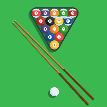 Billiard balls in the triangle rack and cue on green table. Vector illustration of a pool or billiard elements set for web design banner or print card
