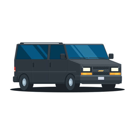 agent de s�curit�: Black van. Security agent vehicle in trendy flat design. Vector illustration isolated on white background