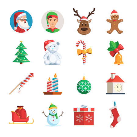 Christmas icons set. Collection of symbols of the winter holiday. Christmas vector flat illustration isolated on white background for web design or greeting card