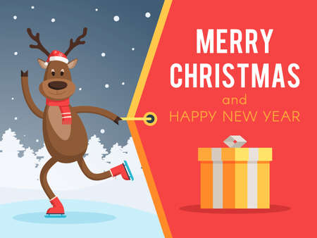Christmas deer on skates and a Santa hat pulling a banner merry Christmas and Happy New year. Vector illustration for holiday design web banner or greeting card